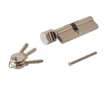 Цилиндр профильный ELEMENTIS с ручкой 40(ручка)/50(ключ), никелированный Изображение 2