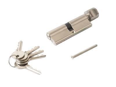Цилиндр профильный ELEMENTIS с ручкой 45(ключ)/45(ручка), 5 ключей, никелированный Изображение