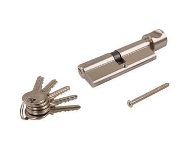 Цилиндр профильный ELEMENTIS с ручкой 45(ключ)/45(ручка), 5 ключей, никелированный Изображение 7