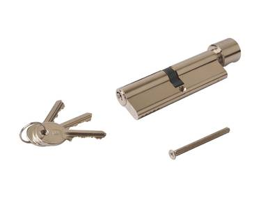 Цилиндр профильный ELEMENTIS с ручкой 50(ручка)/50(ключ), никелированный Изображение