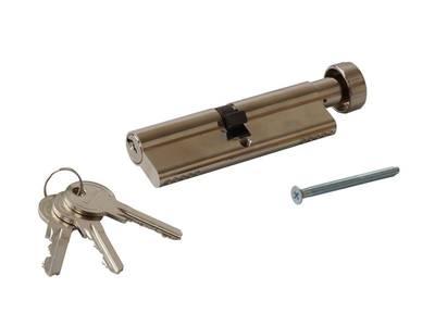 Личинка замка двери с ручкой Titan 50(р)/50(к) (никелированный) Изображение