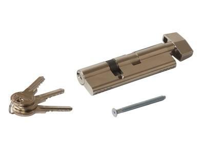 Цилиндр профильный MAXBAR с плоской ручкой CVG/K 65(ручка)/35(ключ), никелированный Изображение 3
