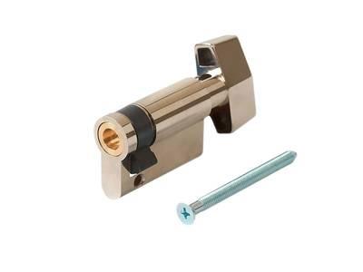 [ПОД ЗАКАЗ] Личинка замка двери с ручкой Titan 10(к)/35(р) (никелированный) Изображение