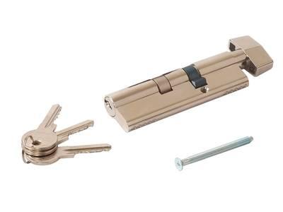 Личинка замка двери с ручкой Titan 35(р)/65(к) (никелированный) Изображение 2