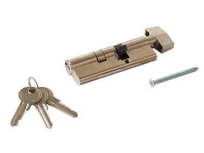 Личинка замка двери с ручкой Titan 35(р)/60(к) (никелированный) Изображение