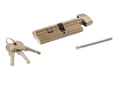 Цилиндр профильный MAXBAR с плоской ручкой CVG/K 40(ручка)/55(ключ), никелированный Изображение