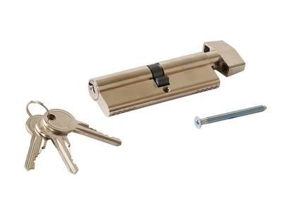 Цилиндр профильный MAXBAR с ручкой CVG/K 45 (ручка)/50 (ключ), никелированный Изображение