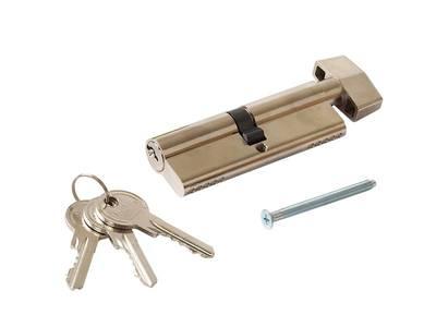 Цилиндр профильный MAXBAR с плоской ручкой CVG/K 45(ручка)/45 (ключ),никел. Изображение