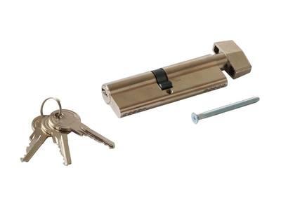 Цилиндр профильный MAXBAR с ручкой CVG/K 50 (ручка)/45 (ключ), никелированный Изображение