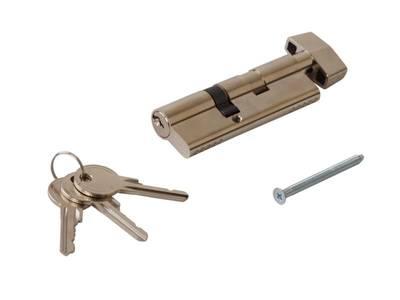 [ПОД ЗАКАЗ] Личинка замка двери с ручкой Titan 55(р)/35(к) (никелированный) Изображение
