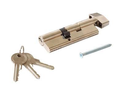 Личинка замка двери с ручкой Titan 55(р)/40(к) (никелированный) Изображение