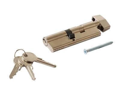 Личинка замка двери с ручкой Titan 55(р)/45(к) (никелированный) Изображение