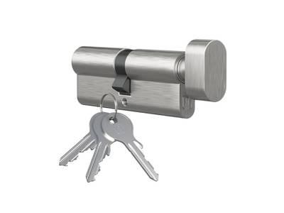 Личинка замка двери с ручкой Medos 35(р)/65(к) (никелированный) Изображение