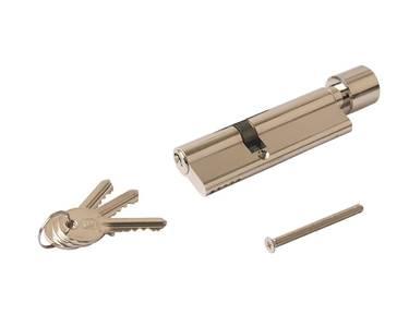 Цилиндр профильный с ручкой ELEMENTIS 40(ключ)/60(ручка), никелированный Изображение