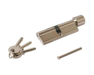Цилиндр профильный ELEMENTIS 45(ключ)/45(ручка), никелированный Изображение