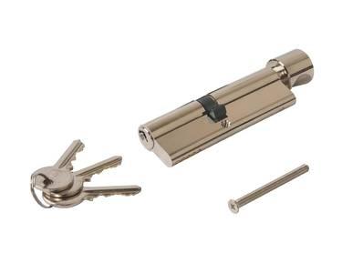Цилиндр профильный с ручкой ELEMENTIS 45(ключ)/55(ручка), никелированный Изображение