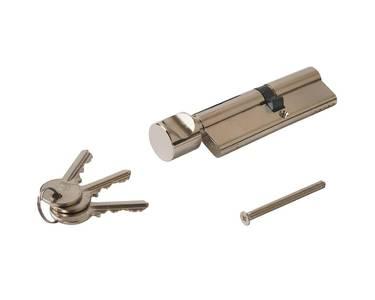 Цилиндр профильный с ручкой ELEMENTIS 45(ключ)/55(ручка), никелированный Изображение 2