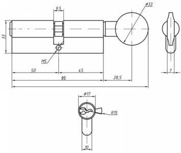 Личинка замка двери с ручкой Roto 45(р)/50(к) (никелированный) Изображение 2