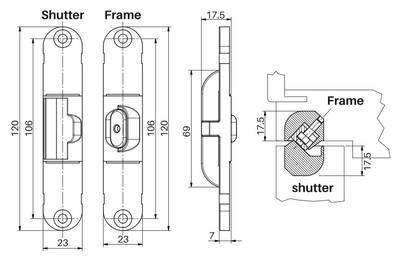 Стабилизатор для скрытых петель, из 2 частей, 120x23 мм, цамак, белый Изображение