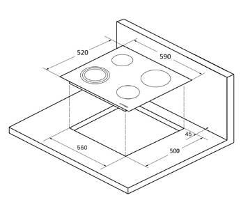 ECS 603 C Электрическая независимая варочная поверхность стеклокерамическая, ширина 60 см, цвет бежевый/прямой край Изображение 3