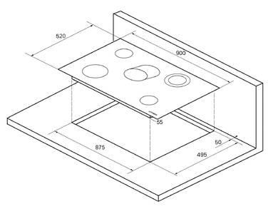 EMS 901 Электрич. независимая варочная поверхность стеклокерамическая, ширина 90 см, цвет: чёрный Изображение 4