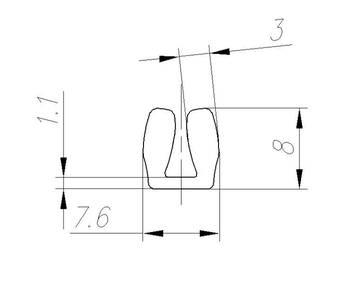 FIRMAX Уплотнитель ПВХ под вставку 4мм, бесцветный, П-образный Изображение 2