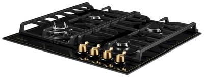 FQ 602 B Газовая варочная поверхность, закаленное стекло, ширина 60 см, цвет чёрный /поворотные переключатели цвета бронзы Изображение 2
