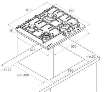 FS 603 W Silver Газовая варочная поверхность металл, ширина 60 см, цвет белый/ручки цвета серебро Изображение 4