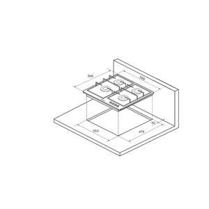 FV6TGRZ ANT Silver Газовая варочная поверхность металл, ширина 60 см, цвет антрацит/ручки цвета серебро Изображение 3