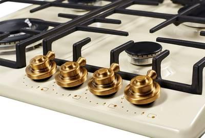 FV6TGRZ C Bronze Газовая варочная поверхность металл, ширина 60 см, цвет бежевый/ручки цвета бронзы Изображение 3