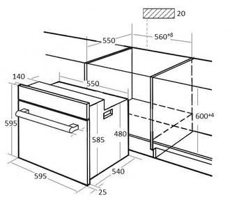 HFZ 691 BX Электрический независимый духовой шкаф, цвет Чёрный/ дверная ручка и рама из алюминия Изображение 4