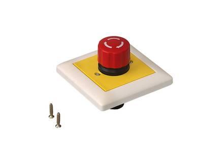 Кнопка аварийной остановки скрытого монтажа 80х80 мм Изображение