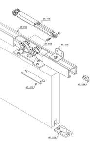 Комплект креплений для сдвижных дверей до 120 кг с системой мягкого закрывания с направляющей 2 м Изображение 2