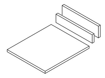 Комплект ЛДСП для боковин на роликовых направляющих FRM0376 и FRM0396, ширина 600мм, H=86 и H=150 Изображение