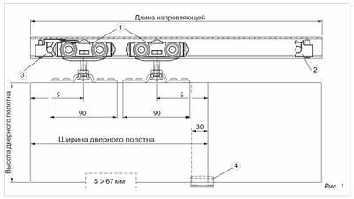 Комплект для сдвижных дверей, вес двери до 40 кг Изображение 6