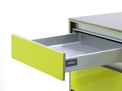Комплект для ящика Firmax 400 мм, H83мм с доводчиком, серебристый Изображение