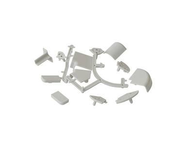 Комплект к плинтусу (90° внешний и внутренний углы по 2шт., 135° угол, 2 заглушки 5 подст.) пластик, серый FIRMAX Изображение