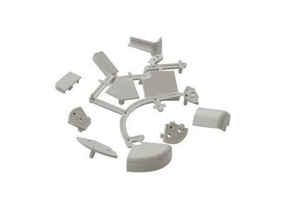 Комплект к плинтусу (90° внешний и внутренний углы по 2шт., 135° угол, 2 заглушки 5 подст.) пластик, серый FIRMAX Изображение 3