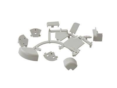Комплект к плинтусу (90° внешний и внутренний углы по 2шт., 135° угол, 2 заглушки 5 подст.) пластик, серый FIRMAX Изображение 4