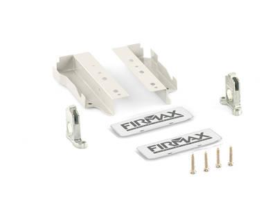 Комплект креплений 135мм (держатели фасада, держатели задней стенки, заглушки) для ящика Firmax Newline, белый Изображение