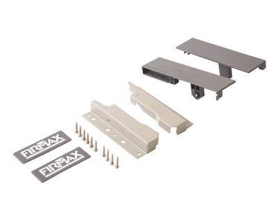 Комплект креплений 135мм (Соединители передней панели, держатели задней стенки, заглушки, винты) для вн. ящика Firmax Newline под 1 рейл., серый Изображение