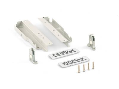 Комплект креплений Firmax высота 199 мм (Держатели фасада, держатели задней стенки, заглушки) для ящика Newline, белый Изображение