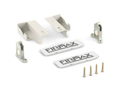 Комплект креплений 84мм (Держатели фасада, держатели задней стенки, заглушки) для ящика Firmax Newline, белый Изображение