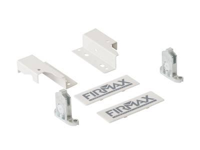 Комплект креплений 84мм (Держатели фасада, держатели задней стенки, заглушки) для ящика Firmax Newline, белый Изображение 4