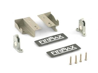 Комплект креплений 84мм (Держатели фасада, держатели задней стенки, заглушки, винты) для ящика Firmax Newline, серый Изображение