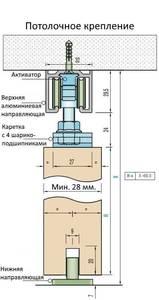 Комплект креплений для сдвижных дверей до 40 кг с системой мягкого закрывания с направляющей 2 м Изображение 13