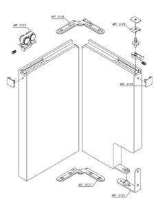Комплект креплений для складных дверей 30 мм до 60 кг с направляющей Изображение 2