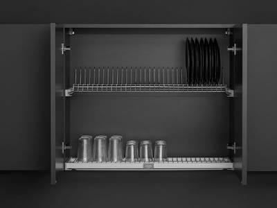 Комплект посудосушителя для тарелок/чашек в базу 900мм(для плиты 16мм), с алюминиевой рамой и пласт. поддоном, регулировка по глубине, Vibo Изображение 4