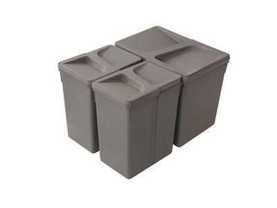 Комплект системы сортировки мусора в базу 450-700mm, 1 ведро 15 литров+ 2 ведра по 7 литров H=266mm с крышкой, пластик серый FIRMAX Изображение