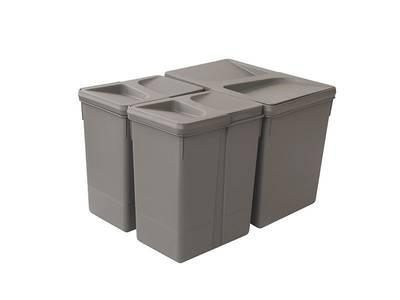 Комплект системы сортировки мусора в базу 450-700mm, 1 ведро 15 литров+ 2 ведра по 7 литров H=266mm с крышкой, пластик серый FIRMAX Изображение 4